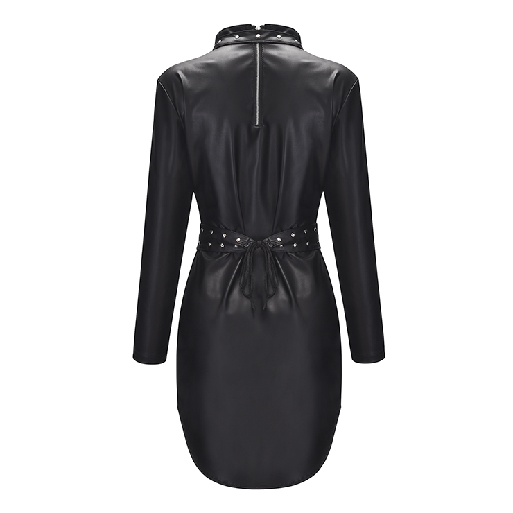 Sexy High Collar PU Leather Studs Long Sleeve Elastic Bandage Bodycon Clubwear Mini Dress N20057