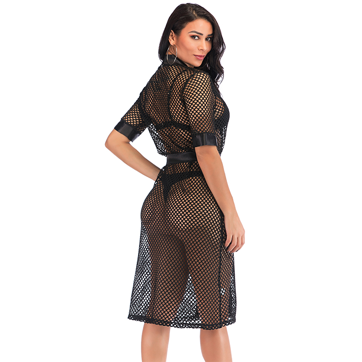 Charming See-through Black Mesh Self-tying Thin Nightgown Bathrobe with Belt N18974