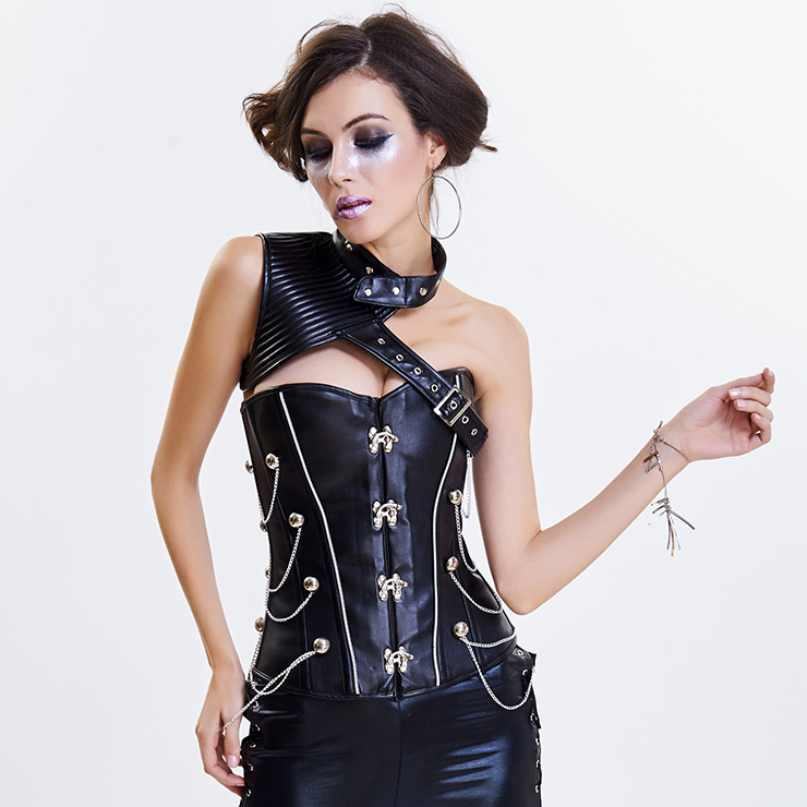 Women's Steampunk Black One-shoulder Leather Spiral Stripe Corset Shrug N14708