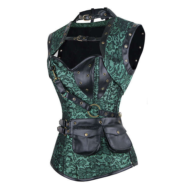Steampunk Gothic Vintage Green Steel Boned Overbust Corset for Halloween N11329