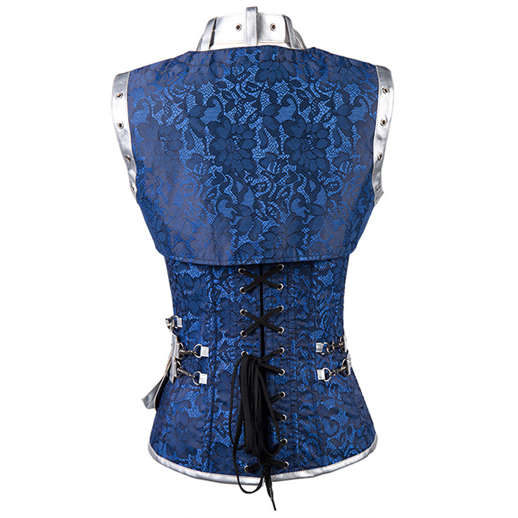 Steampunk Gothic Vintage Blue and Silver Steel Boned Corset N12984