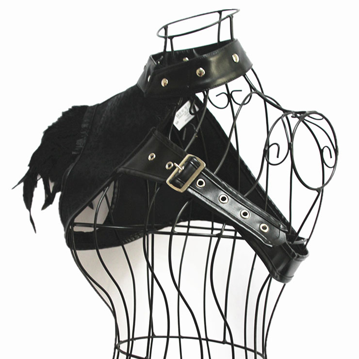 Steampunk Black One-shoulder PU Leather and Feather Brocade Corset Shrug N19598