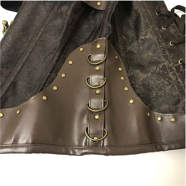 Women's Steampunk Gothic Brown Steel Boned Jacquard Halter Overbust Corset N20892