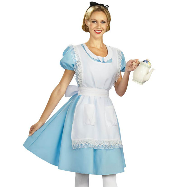Women's Storybook Alice Blue Dress Cosplay Halloween Adult Costume N16123
