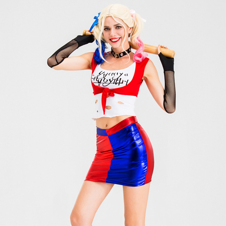 5pcs Supervillain Harley Suicide Red and Blue Mini Skirt Halloween Anime Cosplay Costume N19879