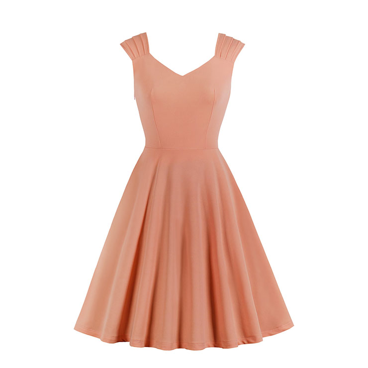 Vintage Solid Color Sweetheart Neckline Wide Shoulder Straps Party Swing Dress N20134