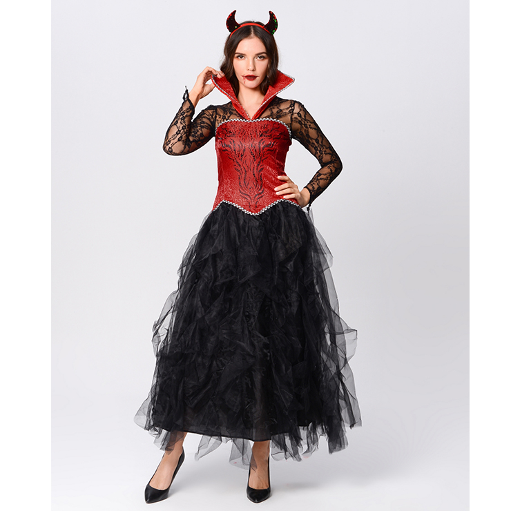 Gothic Devil Stand Collar Corset Sheer Lace and Mesh Long Gown Adult Vampire Costume N20164