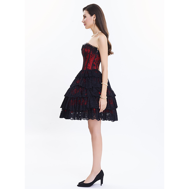 Victorian Elegant Sweetheart Neck Strapless Lace Overlay A-line Corset Dresses N14687