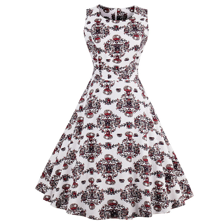 1950's Vintage Floral Print Cotton Sleeveless Dress N12860