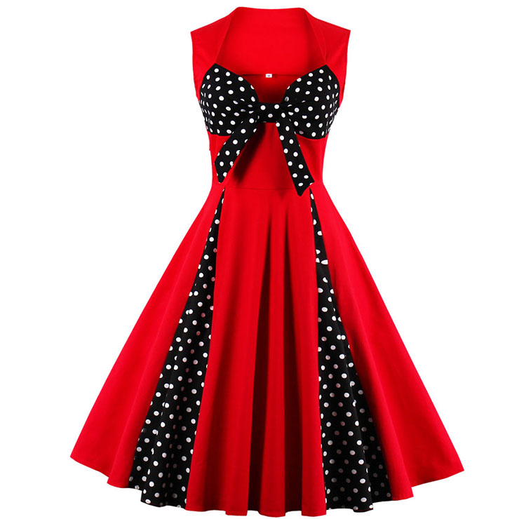 Vintage Red Sweetheart Neck Cocktail Bridesmaid Dress N12758