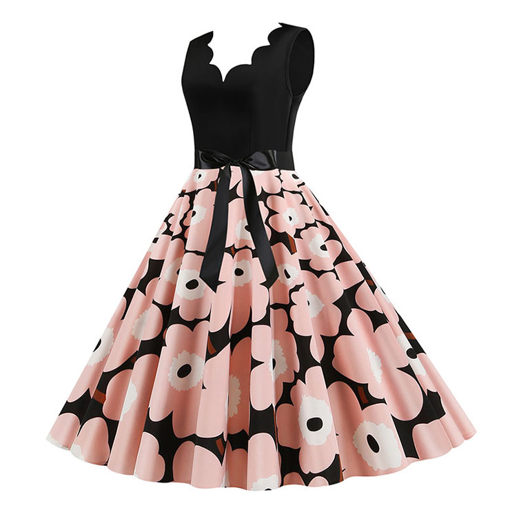 Vintage V Neck Pink Flowers Print Splice Sleeveless High Waist Belted Party Swing Dress N20356