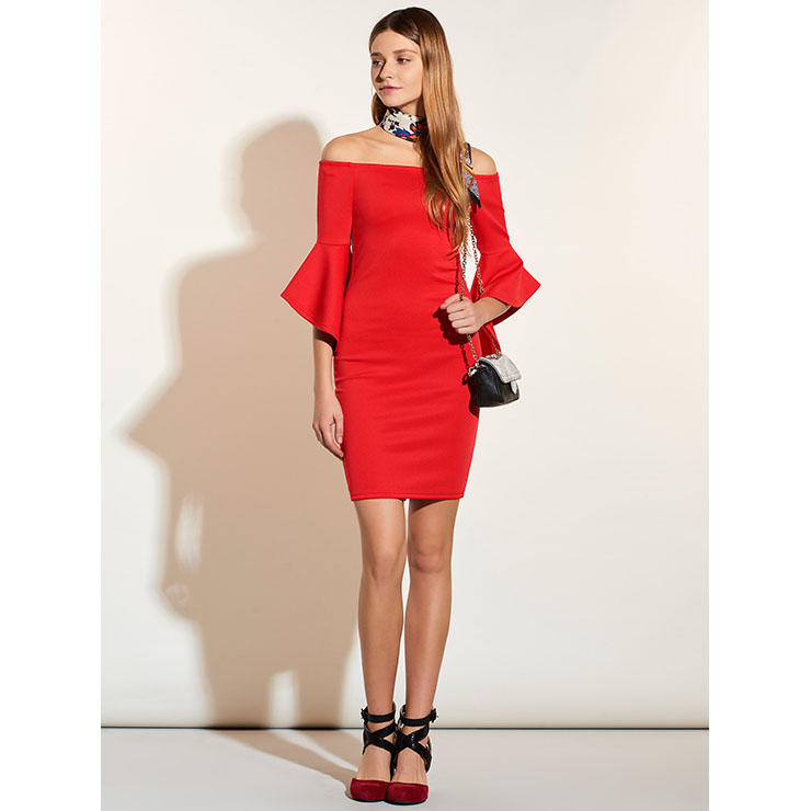 Women's Sexy Flared Half Sleeve Off Shoulder Bodycon Dresses N14393