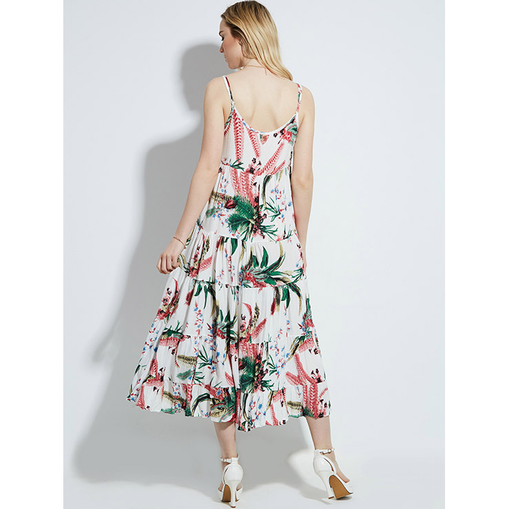 Pretty Women's Round Neck Spaghetti Strap Pleated Layered Floral Print Maxi Dress N14403