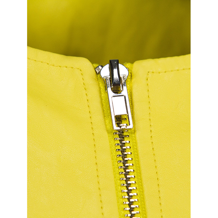 Women's Yellow Round Neck Long Sleeve Front Zipper Peplums Blouse N15772