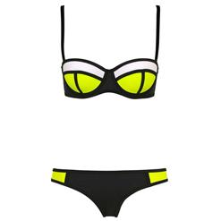 Sexy Black Swimsuit, Fashion Push Up Padded Bikini Set, Cheap Women's Swimwear Beachwear, Hot Sale Bikini Set, #BK10292