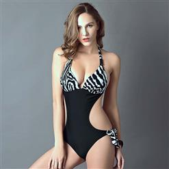 Sexy Zebra Print Monokini, Popular Halter Neck One-piece Swimsuit, Black Cutout Swimsuit, Cheap Swimwear Beachwear Swimsuit, #BK10311