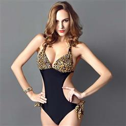 Sexy Leopard Print Monokini, Popular Halter Neck One-piece Swimsuit, Black Cutout Swimsuit, Cheap Swimwear Beachwear Swimsuit, #BK10312