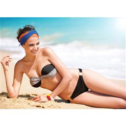 Twist Bandeau Top & Bottom, Twist Bandeau Top & Bikini Bottom, Twist Bandeau Top & Bottom with a O-ring, #BK4806
