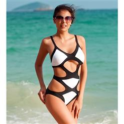 Monokini, Splice Swimsuit, Halter One Piece Swim Suit, Black and White Swim Suit, #BK5403