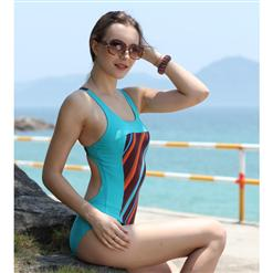 Blue One Piece Bathing Suit, Blue Monokini, Blue One Piece Monokini, #BK5417