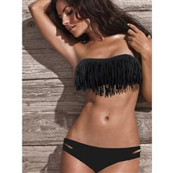 Fringe Swimwear, Fringe Black Bathing Suit, Fringe Black Bikini, #BK5431