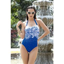 Patterned Swimsuit, Classical Bandeau Monokini, One Piece Swimwear, #BK6366