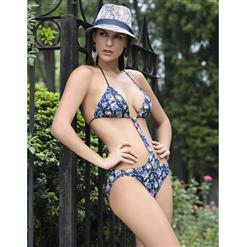 Floral Print Monokini, Flower Teddy Swimsuit, One Piece Swimwear, #BK6433