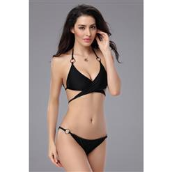 Black Criss Cross Bikini Sets, Unique Halter Bathing Suits, Strap Bikini with O-Rings, #BK8043