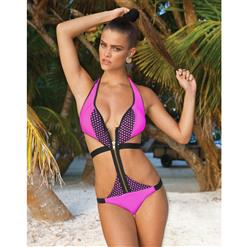 Cut Out Zipper Swimsuit, Cut Out Skimpy One-Piece Swimsuit, Laser Cut Monokini, #BK8064