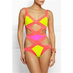 Enticing Split Color Swimsuit, Candy Cut Out Monokini, Enticing Color Block Swimsuit, #BK8089