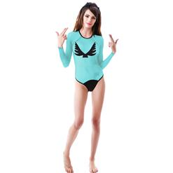 Fashion Light-Blue Long Sleeves Mesh Wings of Angle Print One-piece Swimsuit BK9857