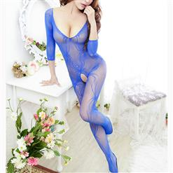 Sexy Long Sleeve Bodysuit Lingerie, Blue See-through Crotchless Bodystocking, Long Sleeve See-through Bodystocking Lingerie, Long Sleeve Open Crotch Bodysuit Lingerie, V Neck See-through Open Crotch Bodystocking, #BS16919