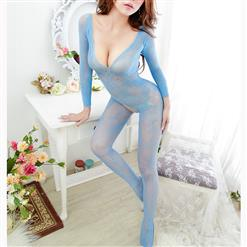 Sexy Long Sleeve Bodysuit Lingerie, Light Blue See-through Crotchless Bodystocking, Long Sleeve See-through Bodystocking Lingerie, Sexy Hollow Out Crotchless Bodystocking, Long Sleeve Open Crotch Bodysuit Lingerie, V Neck See-through Open Crotch Bodystocking, #BS16967