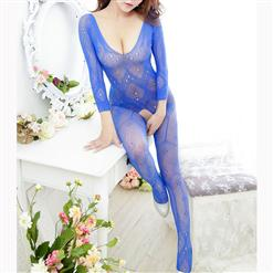 Sexy Long Sleeve Bodysuit Lingerie, Blue See-through Crotchless Bodystocking, Long Sleeve See-through Bodystocking Lingerie, Sexy Hollow Out Crotchless Bodystocking, Long Sleeve Open Crotch Bodysuit Lingerie, V Neck See-through Open Crotch Bodystocking, #BS16971