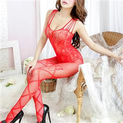 Sexy Sleeveless Mesh Bodysuit Lingerie, Red See-through Crotchless Bodystocking, Sleeveless See-through Bodystocking Lingerie, Sexy See-through Crotchless Bodystocking, Hollow Out See-through Open Crotch Bodystocking, #BS16994