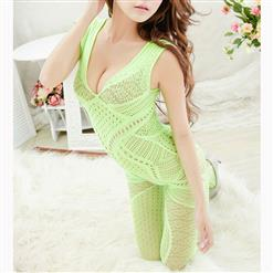 Sexy Sleeveless See-through Bodysuit Lingerie, Light Green See-through Crotchless Bodystocking, Sleeveless Hollow Out Bodystocking Lingerie, Sexy See-through Hollow Out Bodystocking, Hollow Out See-through Open Crotch Bodystocking, #BS17015