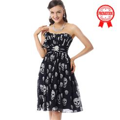 Amazing Black Skull Prints Dress, Fashion Skull Pattern Dress, Cheap Prom Dress on sale, Prom Dress for Women's, Girls Party Dress, #F30073