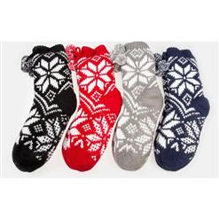 Snowflake Fleece Lining Knit Christmas Stockings Slipper Socks  HG12122