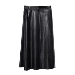 Faux Leather Skirt, Midi Flare Skirt, Black Skirt for Women, Mid Claf Skirt, Casual Skirt, Swing Skater Skirt, Business Skirt, #HG13065