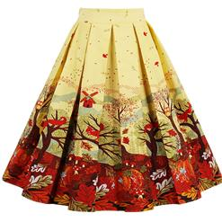 1950's Vintage Skater Skirt, Sexy Skater Skirt for Women, A Line Pleated Skirt, Floral Print Skirt, #HG14022