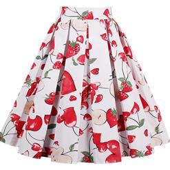 1950's Vintage Skater Skirt, Sexy Skater Skirt for Women, A Line Pleated Skirt, Floral Print Skirt, #HG14023