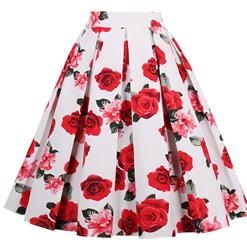 1950's Vintage Skater Skirt, Sexy Skater Skirt for Women, A Line Pleated Skirt, Floral Print Skirt, #HG14024