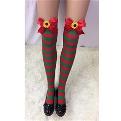 Cute Christmas Stockings, Sexy Thigh Highs Stockings, Red and Green Stripes Cosplay Stockings, Anime Thigh High Stockings, Christmas Red and Green Stripes Stockings, Stretchy Nightclub Knee Stockings, #HG18548