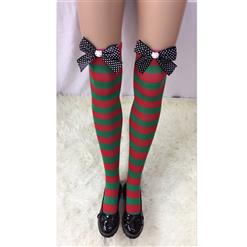 Cute Christmas Stockings, Sexy Thigh Highs Stockings, Red and Green Stripes Cosplay Stockings, Anime Thigh High Stockings, Christmas Red and Green Stripes Stockings, Stretchy Nightclub Knee Stockings, #HG18552