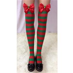 Cute Christmas Stockings, Sexy Thigh Highs Stockings, Red and Green Stripes Cosplay Stockings, Anime Thigh High Stockings, Christmas Red and Green Stripes Stockings, Stretchy Nightclub Knee Stockings, #HG18554