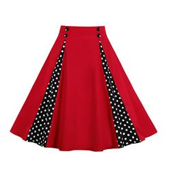 1950's Vintage Skater Skirt, Sexy Skater Skirt for Women, A Line Pleated Skirt, Floral Print Skirt, Retro Fashion Skirts, Polka Dots Skirt, #HG18702