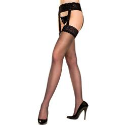 Sheer Stocking With Garter Belt, Sheer Lace Top Stockings, Sheer Lace Top Thigh High Stockings, Sheer Thigh High Stockings, #HG5866
