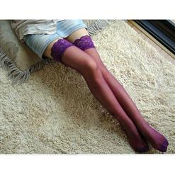 Sheer Thigh High Stockings, Sexy Stockings, Purple wholesale, #HG7378