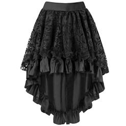 Elegance lace and satin Skirt, Black High Low Hemline Skirt, Lace and Satin High Low Hem Skirt, #HG8478