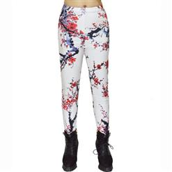 Classical Leggings, Fashion Legging Pants, Cheap Plum Blossom Print Leggings, High Quality Ladies Leggings, #L10255